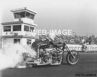 1974 HARLEY DAVIDSON TWIN ENGINE RACING MOTORCYCLE DRAG BIKE PHOTO