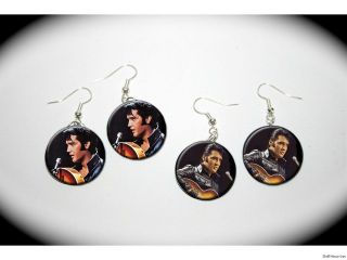 ELVIS PRESLEY black leather jacket 2 pairs of EARRINGS