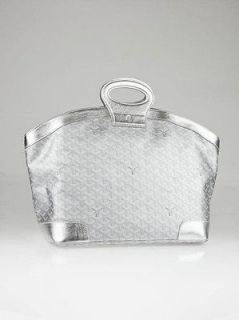 Goyard Metallic Argent Chevron Coated Canvas Beluga 70 MM Bag