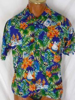 Reyn Spooner Intel Hawaiian Shirt Rayon Blue Hula Girls Ipods S