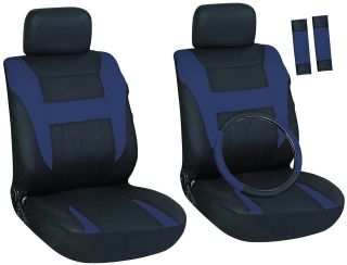 Blue and Black Front Car Seat Cover Set Bucket Chairs with Wheel Cover