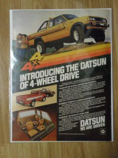 1980 Print Ad Nissan Datsun 4x4 and King Cab Pickup Trucks