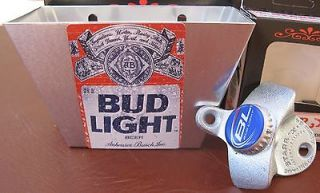 Bud Light Beer Playing Card / ALUMINUM Bottle Cap Catcher & Bottle