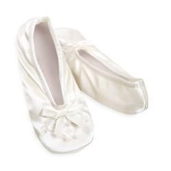 GIRLS Isotoner IVORY Pearl Ballet Style Slippers NEW