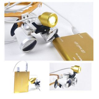 New 3.5x 420mm Dental Binocular Loupes + LED Head Light lamp Golden
