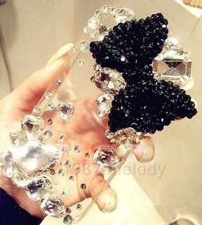 Newly listed 3D Black Bow Ribbon Bling DIY for Phone iPhone 4 4s 5 5g