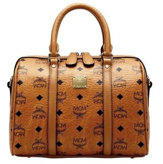 MCM Small Boston Bag VINTAGE VISETOS Line COGNAC MWB2SVI12CO[go
