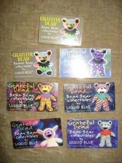 Grateful DeadLiquid Blue Beanie Bear CARDS set of 7   MINT  SUPER