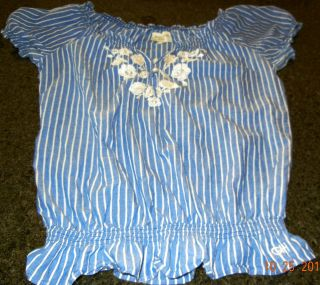 GILLY HICKS Abercrombie Hollister L PIN STRIPE Blue White Peasant Top
