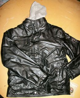 NWT NEW BOYS HAWKE OUTFITTERS FAUX LEATHER JACKET COAT w/ HOODIE 14