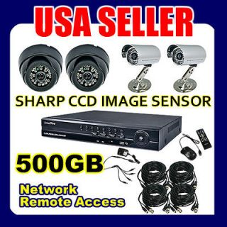 Home Security Camera System 4 Channel Indoor and Outdoor Sharp CCD DVR