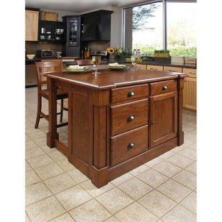 Home Styles Aspen Rustic Cherry Kitchen   Aspen Kitchen Island & Two