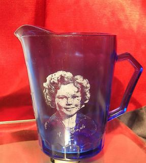 TEMPLE COBALT BLUE GLASS PITCHER CREAMER Hazel Atlas Glass Company