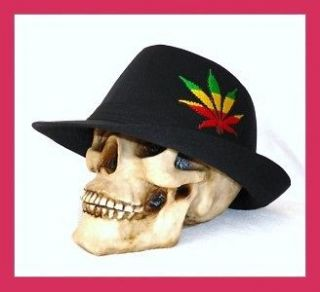 NEW BLACK MARIJUANA RASTA PUNK ROCK 80s FEDORA HAT