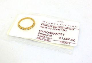 NEW AUTHENTIC HEARTS ON FIRE 18K DIAMOND BAR HEART LADIES BAND RING