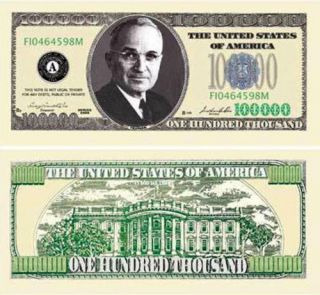 One Hundred Thousand Casino Dollar Bill Notes 2 for $1