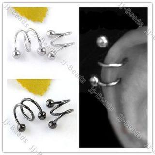 Twist Ear Plug Earring Spiral Helix Stud Ring Body Piercing Stainless