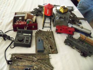 Vintage American Flyer Water Tower Train Cars Track Transformer