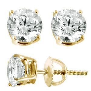 02 ct J I3 Natural Non Certified Diamond Stud Earrings Gold Over