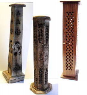 Hand Carved Wooden UPRIGHT INCENSE Holder Burner Ash Catcher Box LIGHT