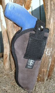 THE TAURUS JUDGE REVOLVER SUEDE LEATHER BELT CLIP HOLSTER THUMB BREAK
