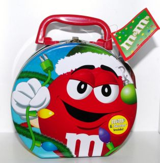 RED Holiday Lights Metal Tin Lunch Box Container