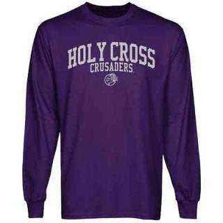 Holy Cross Crusaders Team Arch Long Sleeve T Shirt   Purple