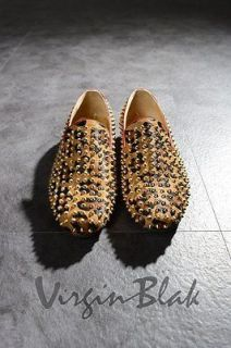vb HOMME Mens Studded Leopard Print Haircalf Slip On Loafers 5ZJ