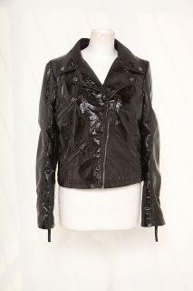 katharine hamnett pu leather black biker jacket punk