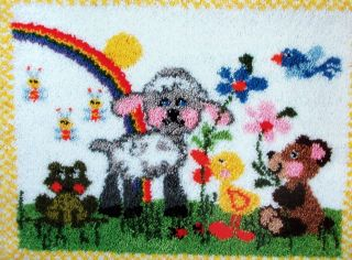 MCG TEXTILES LARGE LATCH HOOK RUG CAVAS KIT, BABY ANIMALS