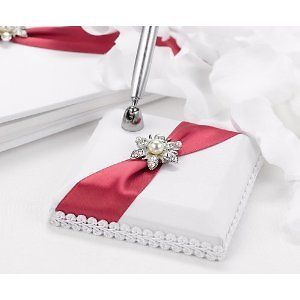 NEW Apple Red & White Satin & Rhinestone Wedding Guest Book Pen