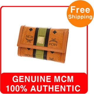 GENUINE MCM GREEN TRIM BISETOS BROWN MIDDLE WALLET FOR WOMEN