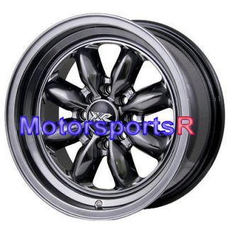 15 7 XXR 513 Chromium Black Rims Wheels Deep Dish Step Lip 4x100 84 91