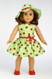 Ladybug   Ladybug Summer Dress with Hat and Red Shoes fits 18 inch