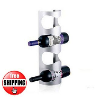 NEW 4 BOTTLES STAINLESS STEEL WINE RACK BAR KITCHEN WALL MOUNT HOLDER