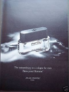 original vintage 1980 Ad Jean Patou Pour Homme Cologne for men