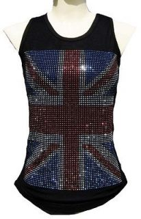 Rockabilly Punk Rock Baby UK UNION JACK Diamante ViP TANK TOP SHIRT
