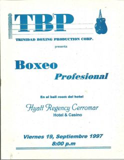 SAMMY SERRANO FELIX TRINIDAD PRODU BOXING PROGRAM SEPTEMBER 19 1997