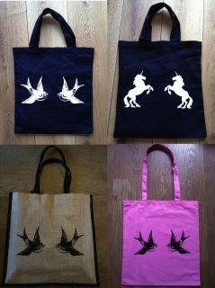 Bags Vintage Swallow Tattoo Sailor Jerry Retro Unicorns Canvas Jute