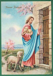 JESUS THE GOOD SHEPHERD KNOCKING AT DOOR Vtge LGE HOLY CARD POSTCARD