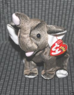 TY Beanie Baby Trumpet Elephant Retired Plush Toy MWMT