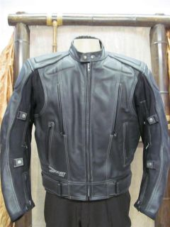 JOE ROCKET Black Leather Motorcycle Mens Jacket Size 44 US
