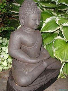 Peaceful Meditating Buddha Garden Statue Caste lava stone Balinese