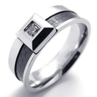 Size 9 Classic Black Silver CZ Stainless Steel Wedding Band Mens Ring