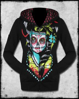 IRON FIST LUCKY LUCY BLACK SUGAR SKULL DAY OF THE DEAD TATTOO HOODIE