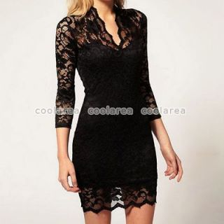 Womens White/Black Lace Dress Sexy V Neck Slim 3/4 Sleeve Cocktail