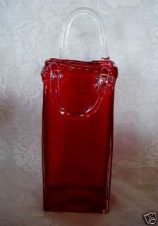 Large Ruby Red Hand Blown Art Glass Wall Pocket / Vase