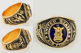 Size 10   J. Esposito Sterling Ep Mens US Air Force Ring w/ Gold Leaf