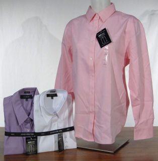 NWT Jones New York No Iron Long Sleeve Classic Fit Shirt Pink/White