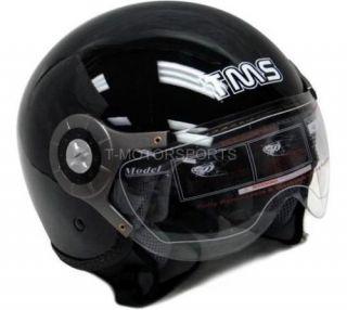 motorcycle scooter open face helmet jet pilot black l one